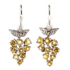 Yellow Sapphire Pave Diamond Platinum Dangle Earrings