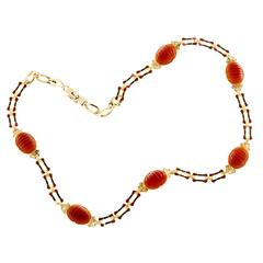 BH Carnelian Gold Red Black Enamel Necklace