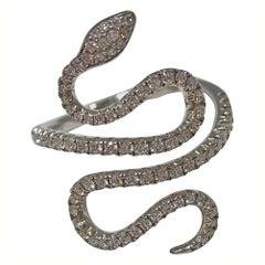Jona White Diamond 18 Karat White Gold Snake Ring