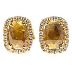 Deep Golden Yellow Diamond Halo Gold Stud Earrings