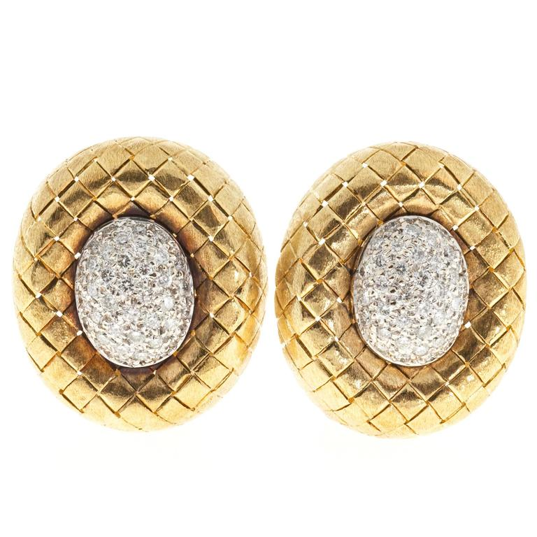 1960s Pave Diamond Gold Oval Button Earrings