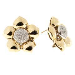 Diamond Gold Button Flower Style Earrings
