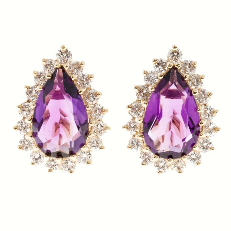 Pear Amethyst Diamond Halo Gold Clip Post Earrings