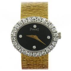 Piaget Lady's Yellow Gold Diamond Onyx Quartz Wristwatch