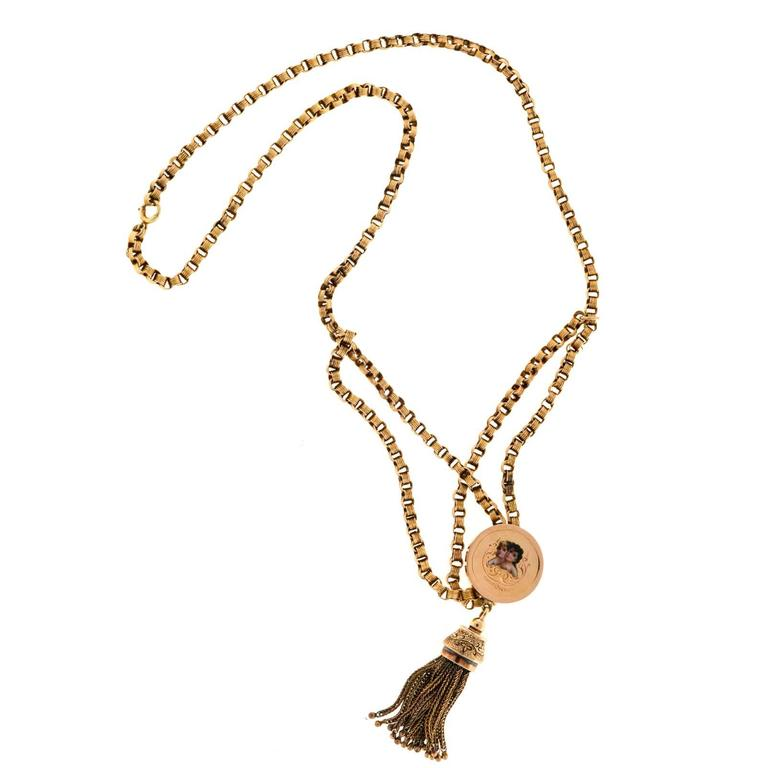 Gold Tassel Engraved Pendant Necklace