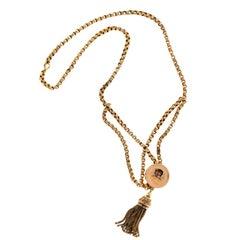 Gold Tassel Engraved Pendant Necklace
