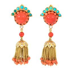 Coral Turquoise Diamond Gold Tassel Earrings