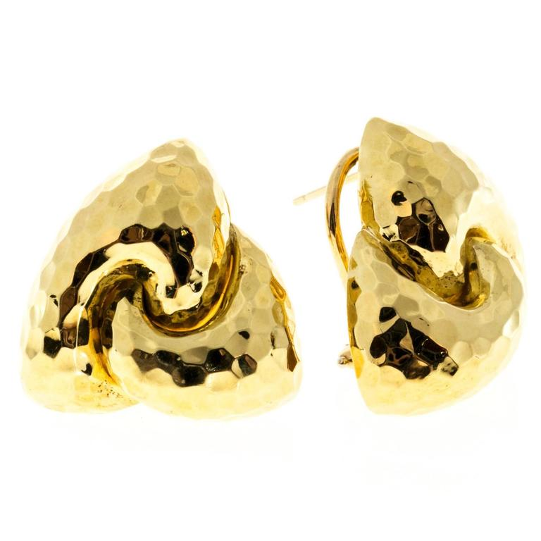 Henry Dunay Hammered Gold Clip Post Earrings For Sale