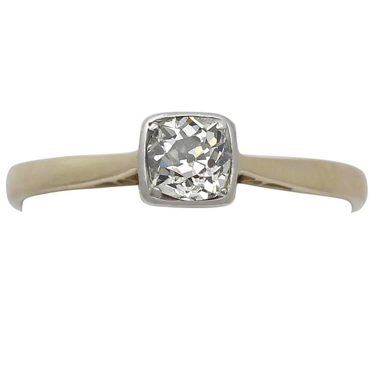 0.56Ct Diamond and 18k Yellow Gold Solitaire Ring - Antique Circa 1910