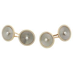 French Pearl Two Color Gold Cufflinks, Paris, 1960s