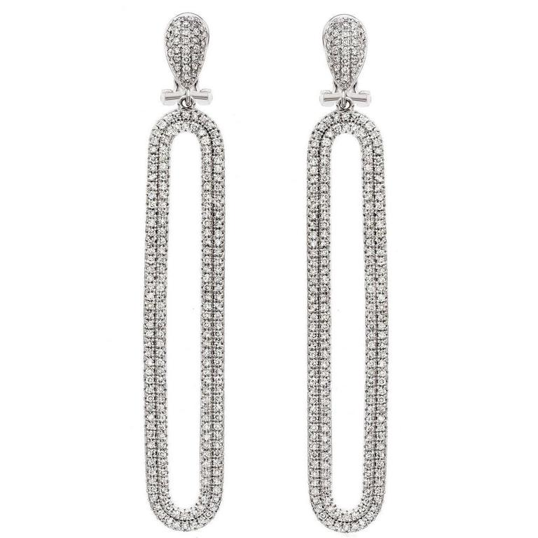 Exquisite Micro Pave Diamond Gold Earrings For Sale