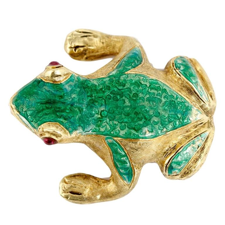 Stunning Green Enamel Ruby Gold Frog Pin Brooch