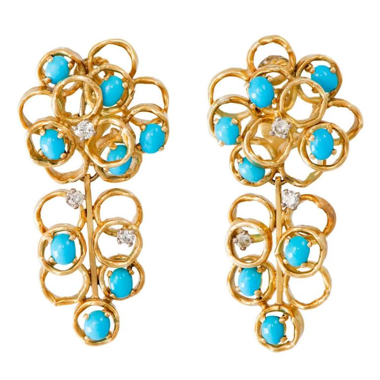 1970s Alan Gard Turquoise Diamond Gold Long Earclips 1
