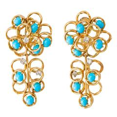 1970s Alan Gard Turquoise Diamond Gold Long Earclips