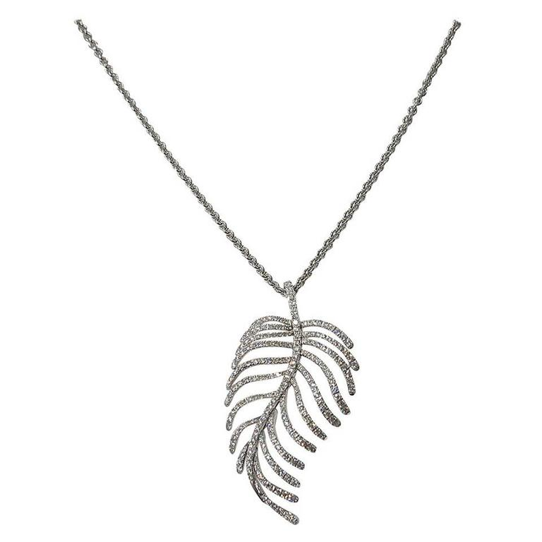 Jona Articulated Diamond Gold Feather Pendant 1