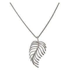 Jona Articulated White Diamond 18 Karat White Gold Feather Pendant