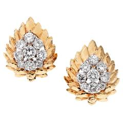 DAVID WEBB Diamond Yellow Gold Clip-On Earrings