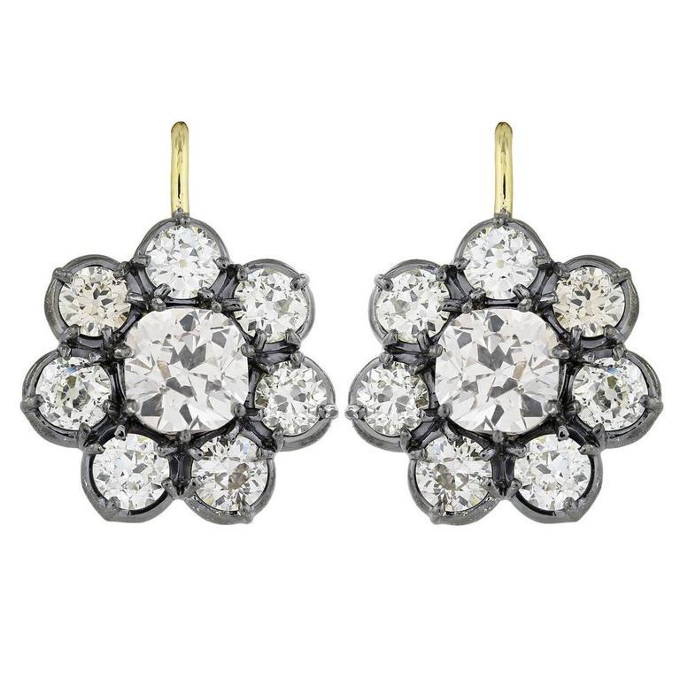 8.60 Carat Diamond Silver Gold Cluster Earrings