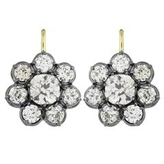 8.60 Carat Diamond Silver Gold Cluster Earrings
