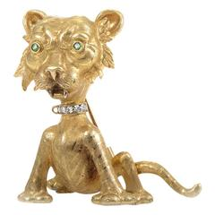 Buccellati Precious Gemstone Gold Wild Cat Brooch