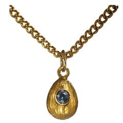 Small Russian Sapphire Gold Easter Egg Pendant