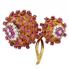 Retro Ruby Diamond Gold Floral Motif Lapel Brooch