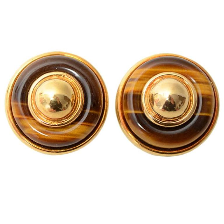 Tiffany & Co. Tiger's Eye Gold Earrings 1