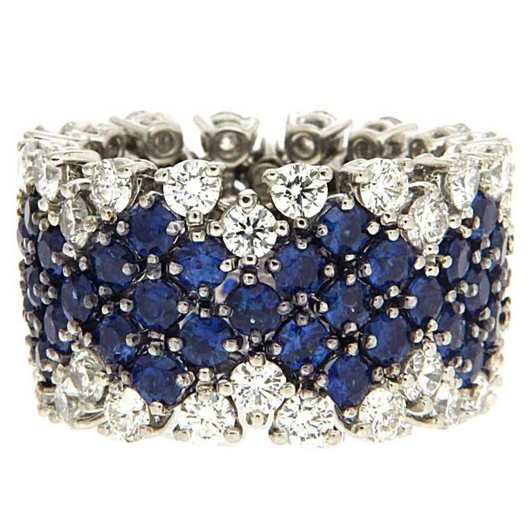 Flexible Sapphire Diamond Platinum Band Ring 1