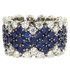 Flexible Sapphire Diamond Platinum Band Ring