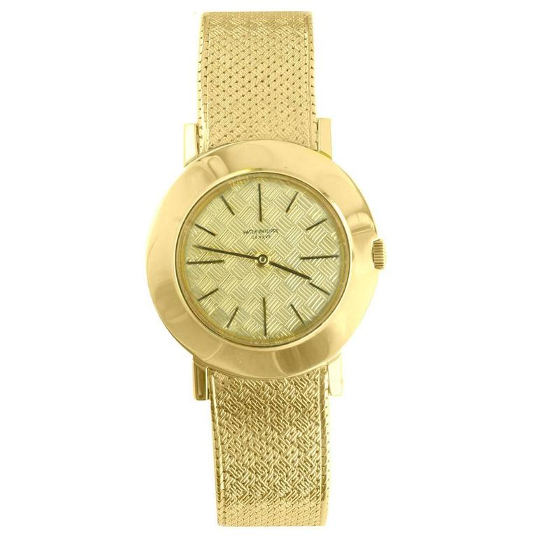 Patek Philippe Yellow Gold Patterned Dial Wristwatch