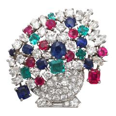 4.61Ct Diamond & 4.68Ct Ruby, Sapphire & Emerald Platinum Brooch - Vintage