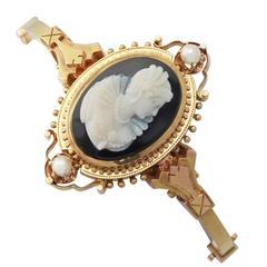Cameo Bangle/Bracelet with Pearls, 15k Yellow Gold - Antique Victorian
