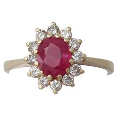1.88 Carat Ruby and Diamond Yellow Gold Cluster Ring