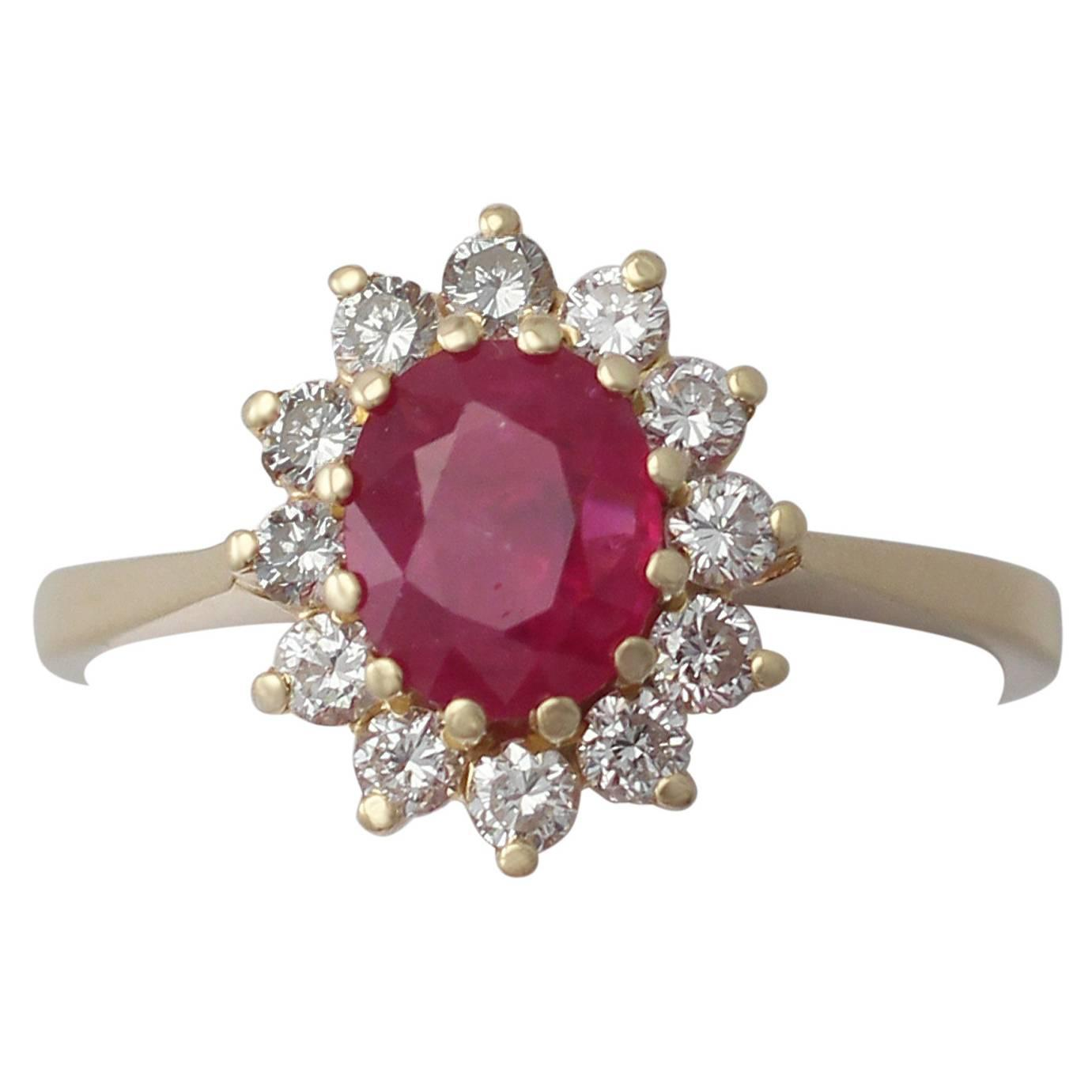 1 88 ct ruby and 0 70 ct 18k yellow gold cluster