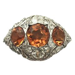 1910s Antique 2.55 Carat Citrine and Diamond White Gold Cocktail Ring