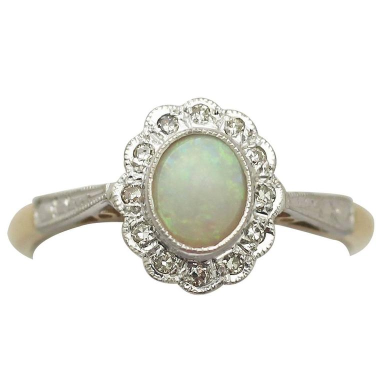 0.48 Ct Opal and 0.15 Ct Diamond, 18 Ct Yellow Gold Cluster Ring - Vintage 1