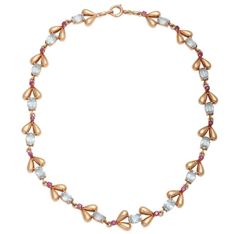 1940s Tiffany & Co. Retro Ruby Aquamarine Gold Necklace 1