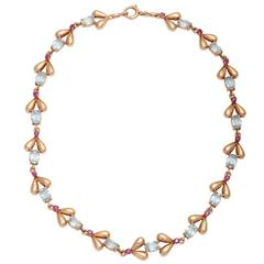 1940s Tiffany & Co. Retro Ruby Aquamarine Gold Necklace