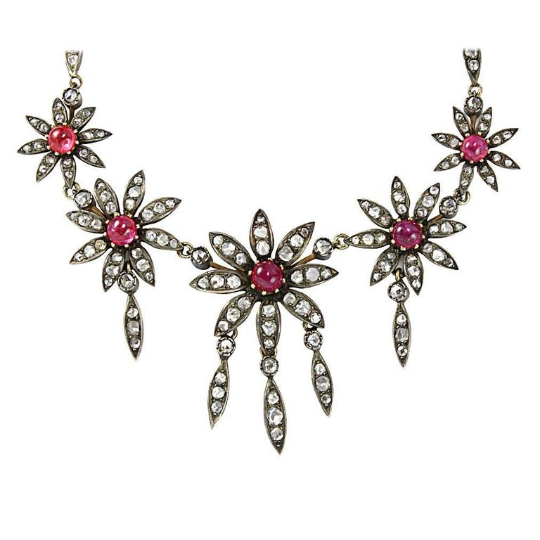 Victorian Ruby Diamond Silver Gold Floral Motif Necklace