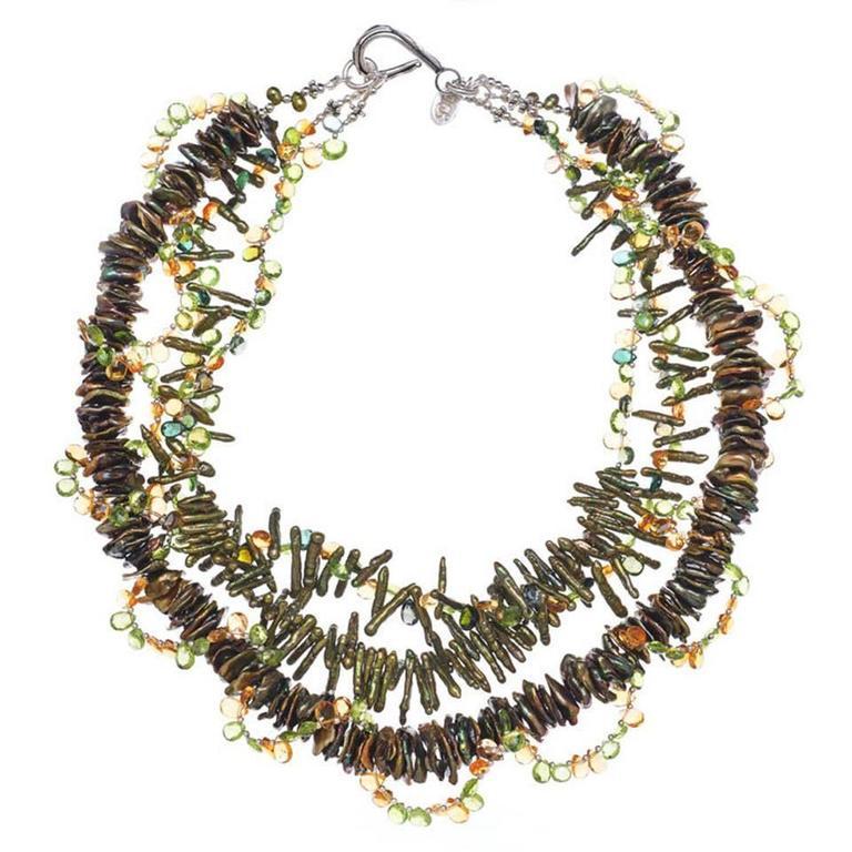 Deborah Liebman Peridot Citrine Tourmaline Pearl Multi-Strand Necklace