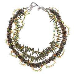 Peridot Citrine Tourmaline Pearl Multi-Strand Necklace