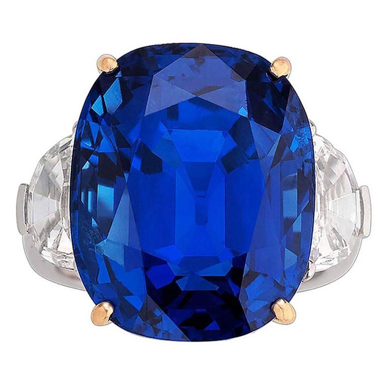 Untreated Burma Sapphire Ring 35.07 Carats 1