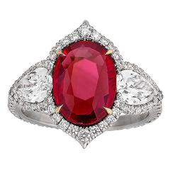 Untreated Ruby and Diamond Ring 3.02 Carat