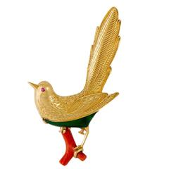 Boucheron Coral Chrysoprase Gold Bird Pin