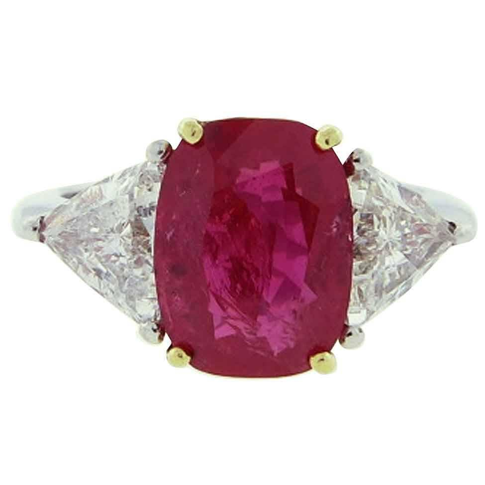 Outstanding 5 7 Carat No Heat Cushion Cut Ruby Diamond