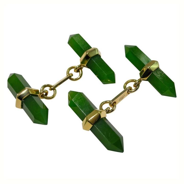 Jona Jade 18k Yellow Gold Prism Bar Cufflinks
