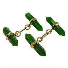 Jona Jade 18 Karat Yellow Gold Prism Bar Cufflinks