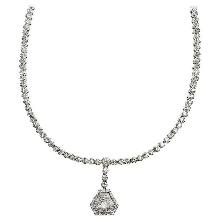1.60 Carat GIA Cert Diamond Gold Pendant on Diamond Gold Necklace