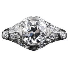 Edwardian 1.60 Carat Diamond Platinum Engagement Ring