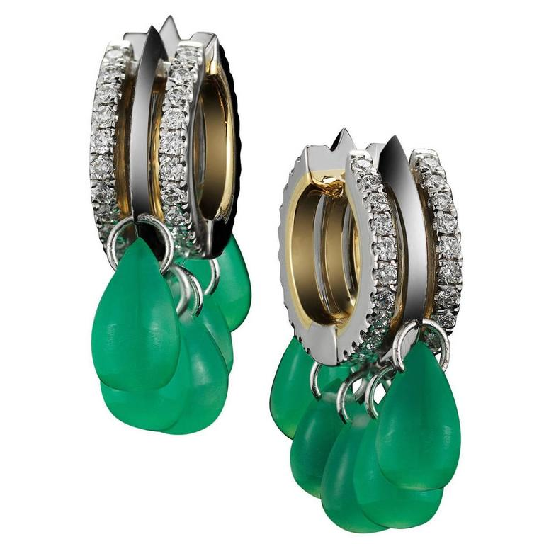 Alexandra Mor Green Chrysoprase Diamond Gold Platinum Hoop Earrings